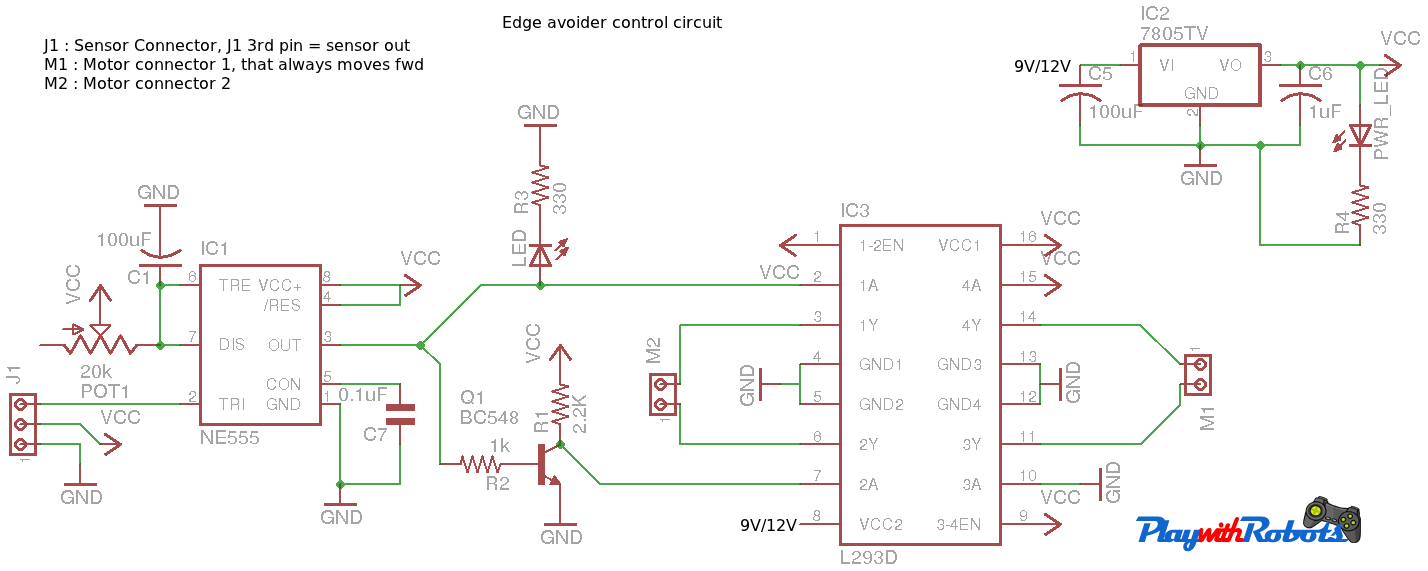 Edge Avoider Robot 2 Transistor Line Follower Circuit Diagram Control Part